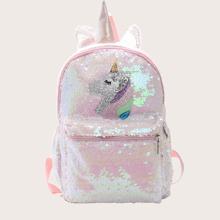 Girls Allover Sequin Decor Unicorn Graphic Backpack