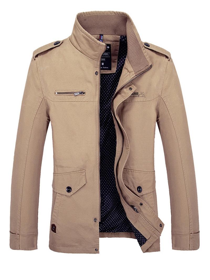 Ericdress Plain Zipper Stand Collar Men's Trench Coat