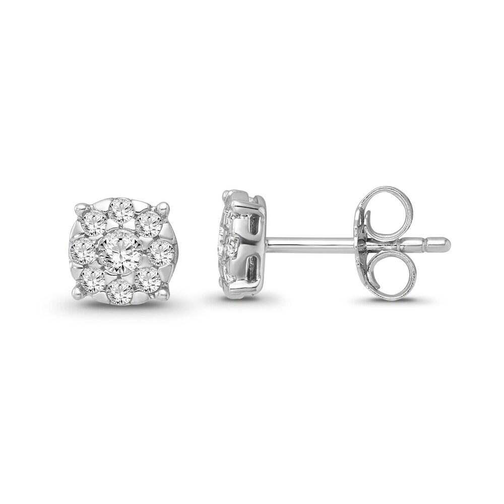 10K White Gold 1/2 Carat Diamond Cluster Earrings for Women (White)
