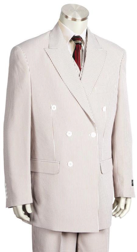 Mens Pinstripe Double Breaste Patch Pocket Orange Zoot Suit