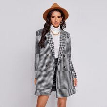 Double Breasted Houndstooth Pea Coat
