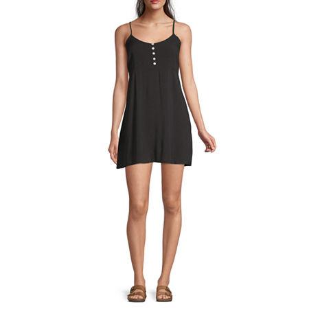 Arizona Sleeveless Slip Dress-Juniors, Medium , Black