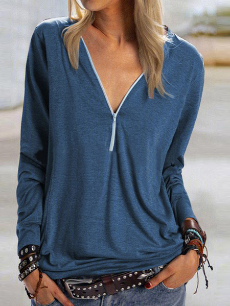 Yoins Zip Design V-neck Long Sleeves Tee