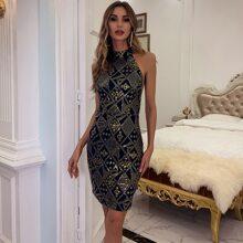 Halterneck Backless Sequin Prom Dress