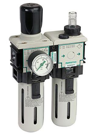 Asco G 1/8 Filter Regulator Lubricator, Semi Automatic Drain, 25μm Filtration Size