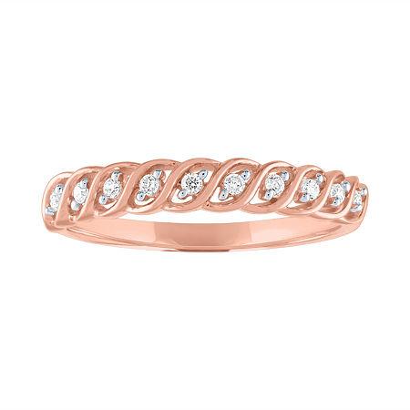 1/10 CT. T.W. Genuine White Diamond 10K Rose Gold Wedding Band, 7 , No Color Family