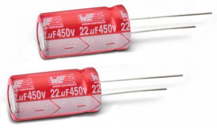 Wurth Elektronik 100μF Electrolytic Capacitor 25V dc, Through Hole - 860240474005 (10)