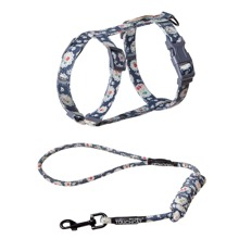 1pc Flower Print Cat Harness With 1pc Leash
