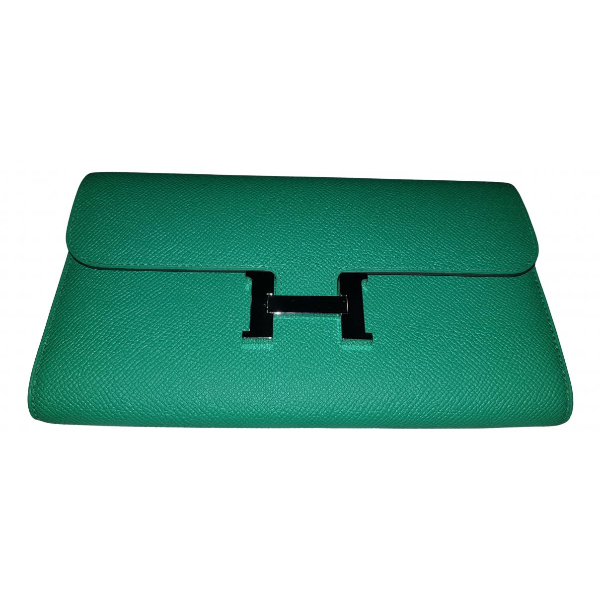Hermes - Portefeuille Constance pour femme en cuir - vert