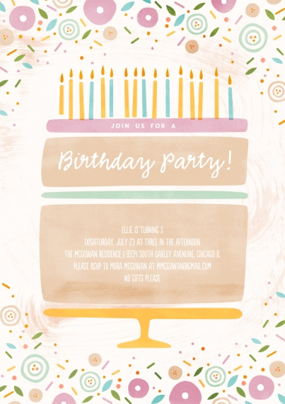 Kids Birthday Party Invites 5x7 Cards, Premium Cardstock 120lb with Scalloped Corners, Card & Stationery -Birthday Cake Delight Invitation