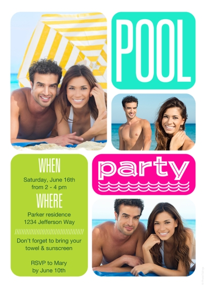 Spring Party Invitations 5x7 Cards, Premium Cardstock 120lb with Elegant Corners, Card & Stationery -Pool Party