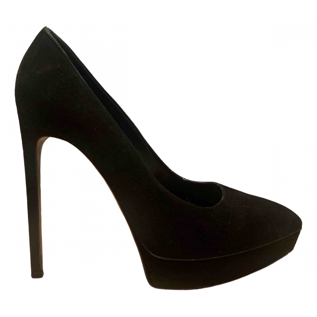 Saint Laurent Janis Black Suede Heels for Women 39.5 EU