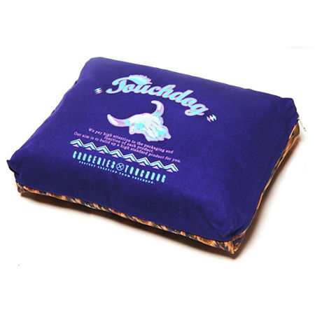 The Pet Life Touchdog 70's Vintage-Tribal Throwback Diamond Patterned Ultra-Plush Rectangular-Boxed Pet Bed, One Size , Blue