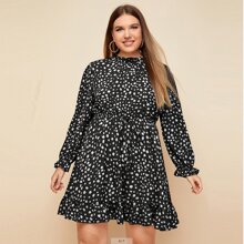 Plus Ruffle Neck Knot Front Allover Print Dress
