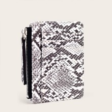 Snakeskin Print Purse With Card Holder
