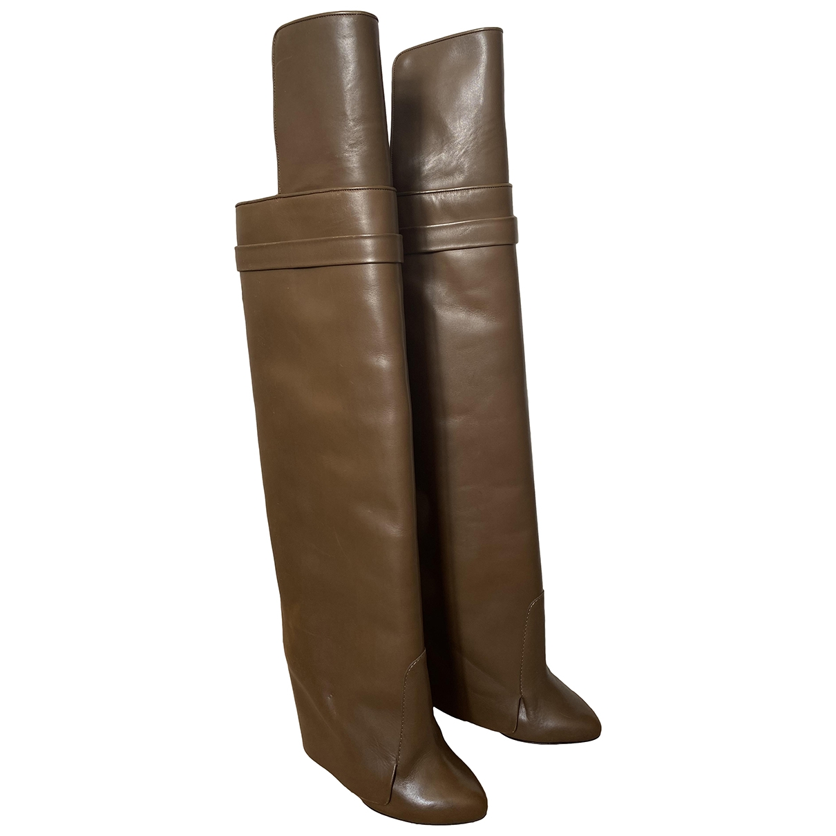Givenchy Shark Brown Leather Boots for Women 37 EU