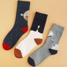 3 pares calcetines de hombres con dibujo