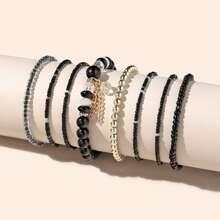8pcs Tassel Charm Beaded Bracelet