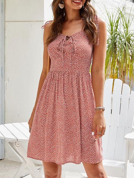 Milanoo Vestido sin mangas de verano Vestido de playa estampado floral Ditsy