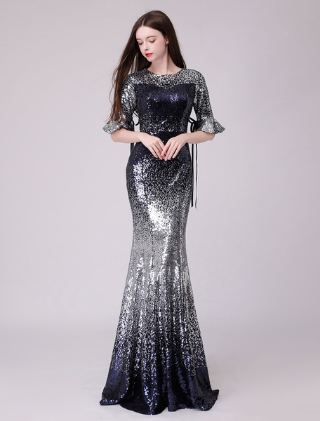 Milanoo Sequin Prom Dresses Long Half Sleeve Ombre Bows Mermaid Formal Evening Gowns