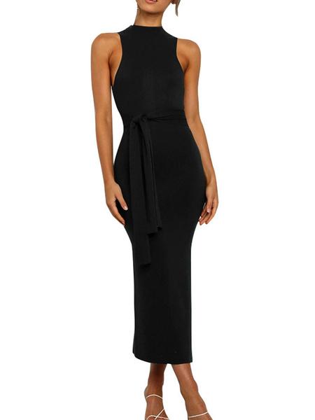Milanoo Bodycon Dresses Jewel Neck Sleeveless Tie Waist Pencil Dress