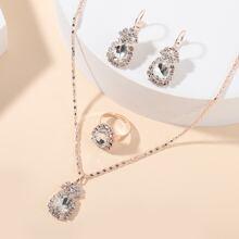 4 piezas set joya con diseño de piedra preciosa