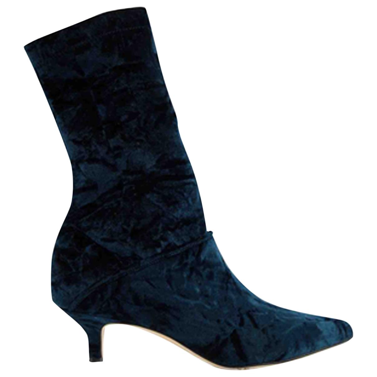 Tibi - Bottes   pour femme en velours - noir
