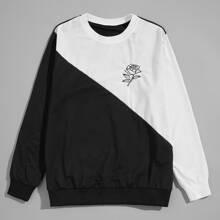 Sweatshirt mit Blumen Muster und Farbblock