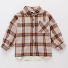 Toddler Girls Plaid Button Front Pocket Drop Shoulder Blouse