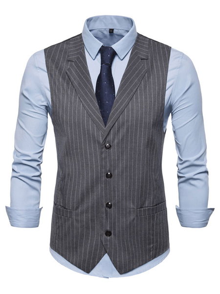 Milanoo Men Waistcoat Vest Stripe Notch Collar Buttons Prom Dress Suit Gilet Clubwear