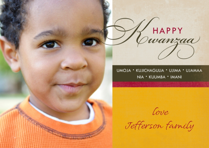 Kwanzaa Photo Cards 5x7 Cards, Standard Cardstock 85lb, Card & Stationery -Contemporary Kwanzaa