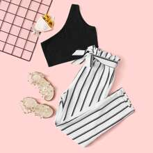 Girls One Shoulder Top and Paperbag Waist Striped Pants Set