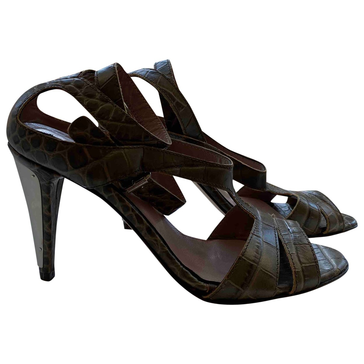 Gianfranco Ferre - Sandales   pour femme en cuir - kaki