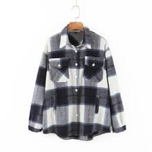 Mantel mit Plaid Muster und Tasche