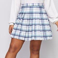 Plus Tartan Zipper Back Pleated Skirt