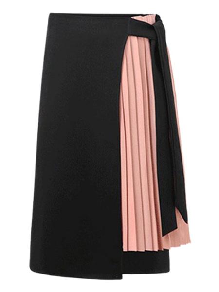 Milanoo Women\s Skirt Black Two-Tone Chiffon Long High Rise Waist Asymmetrical Bottoms