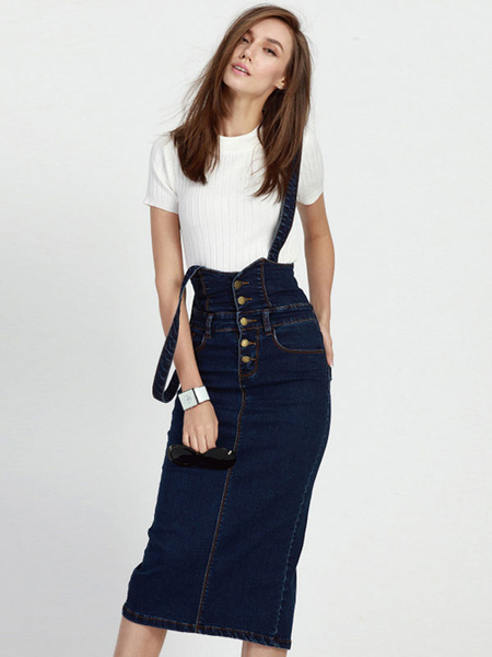 Milanoo Suspender Denim Skirt Navy Buttons Pockets Skirt for Women