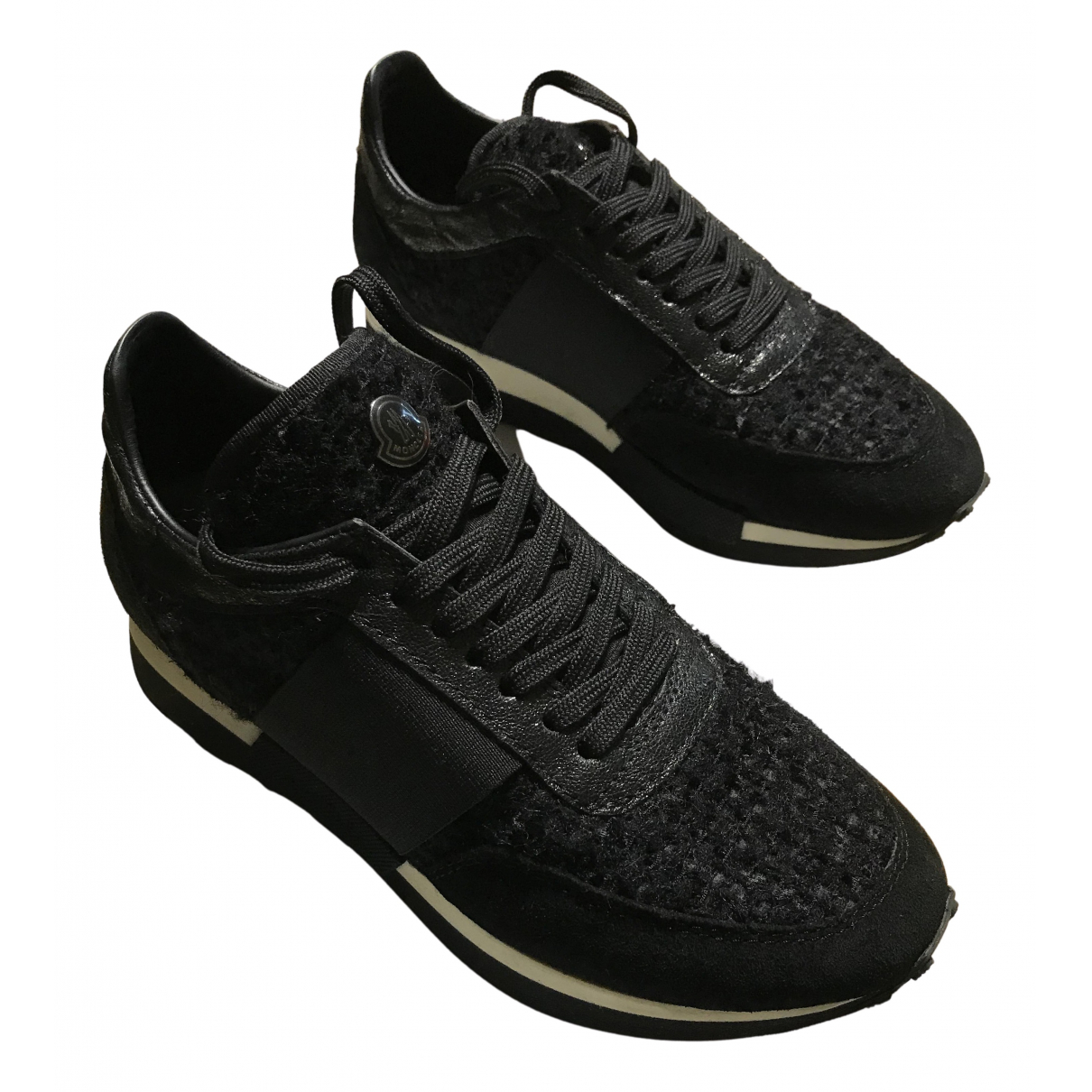 Moncler N Black Leather Trainers for Women 36 EU