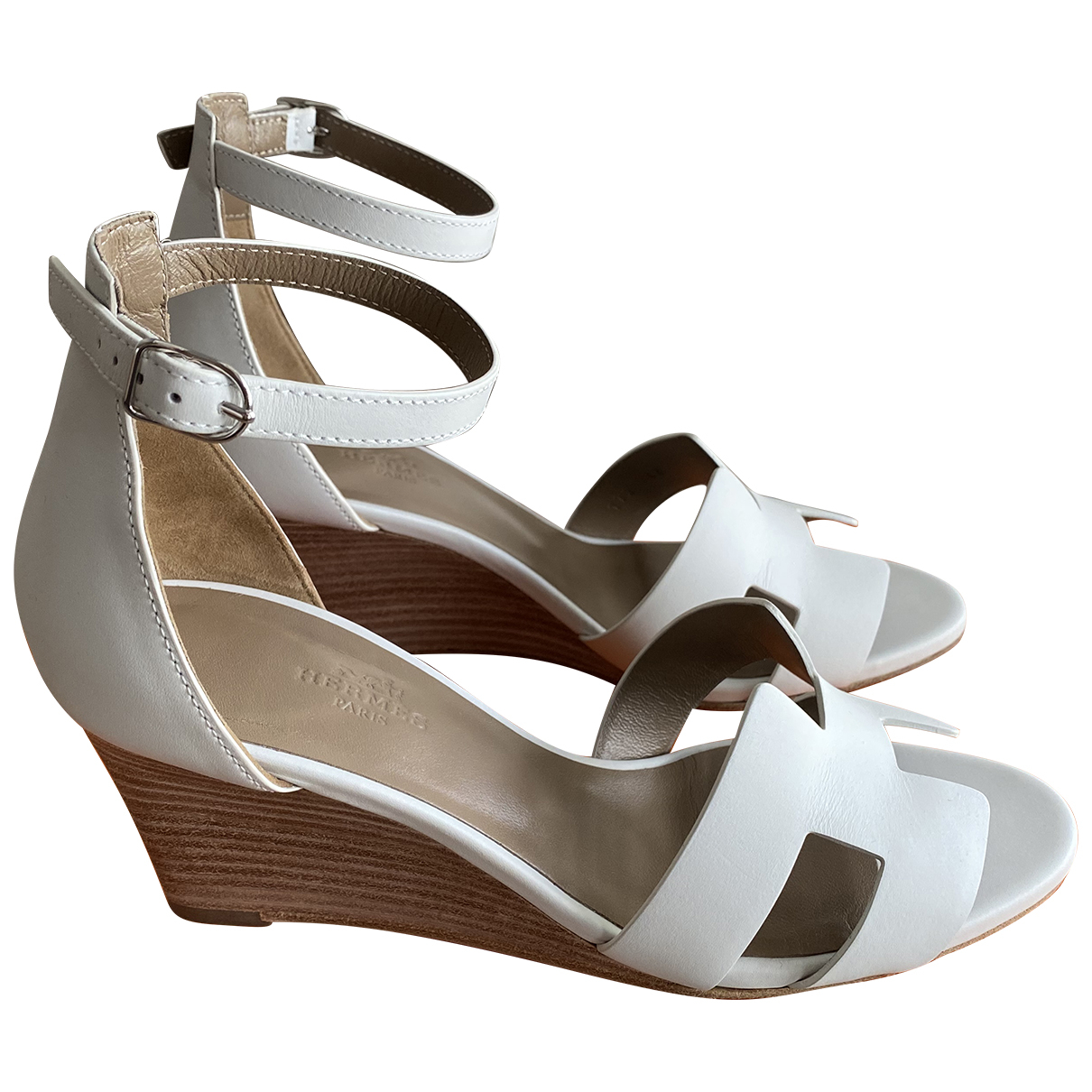 Hermes - Sandales Legend pour femme en cuir - blanc