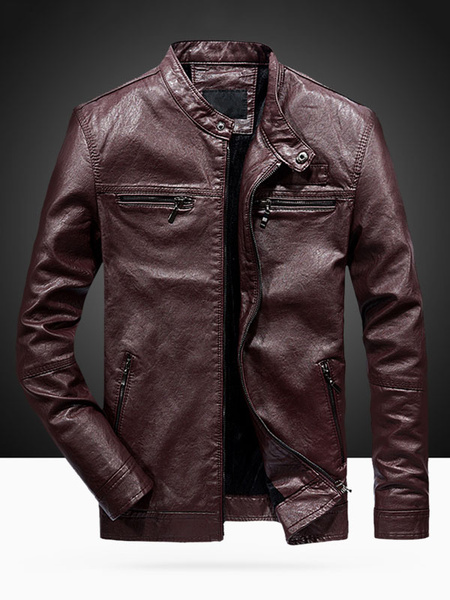 Milanoo Men Leather Jacket Stand Collar Buckle Zipper PU Biker Jacket