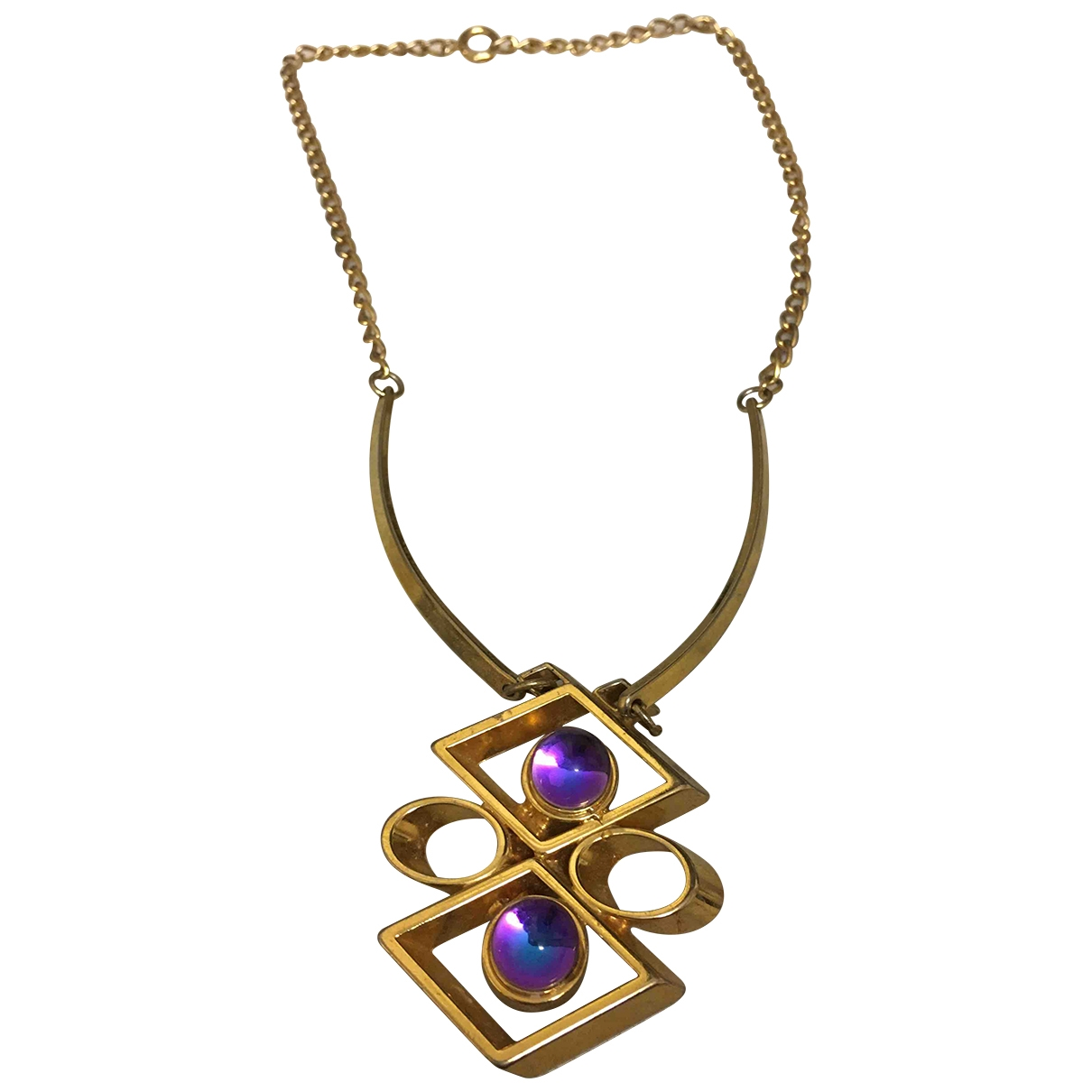 - Collier Amethyste pour femme en plaque or - multicolore