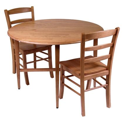 34342 Hannah 3pc Dinning Set  Drop Leaf Table with 2 Ladder Back Chairs  Light Oak