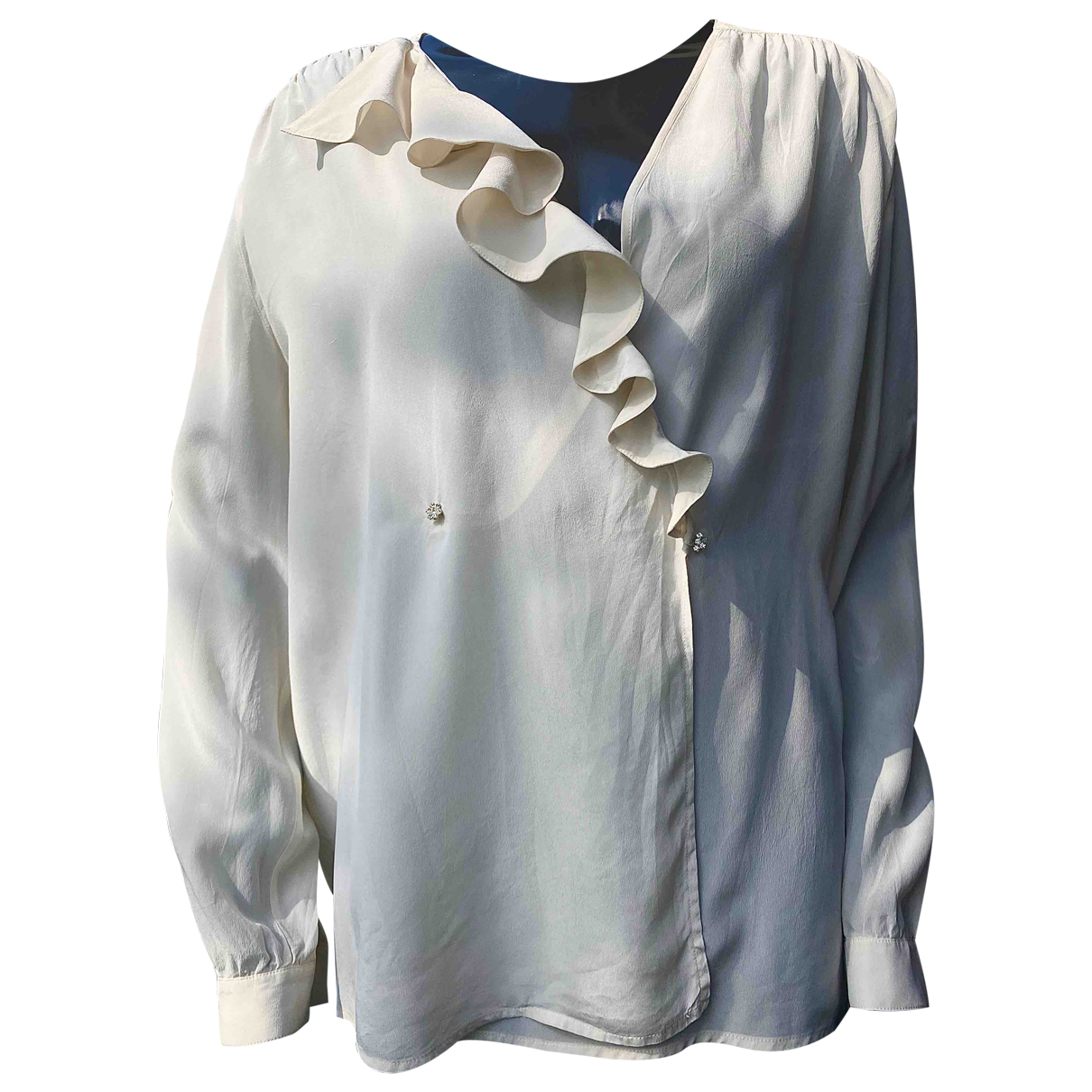 Non Signé / Unsigned Oversize Beige Silk  top for Women 42 IT