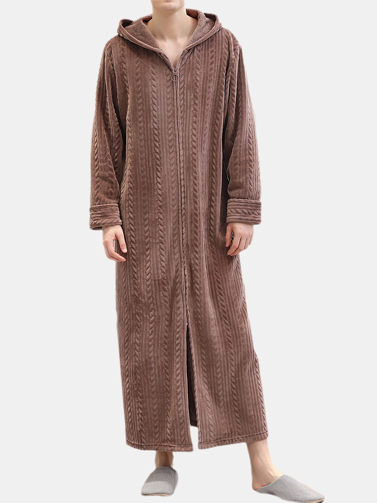 Men Flannel Plain Hooded Pajamas Robe Zip Down Thicken Thermal Warm Loose Comfortable Loungewear