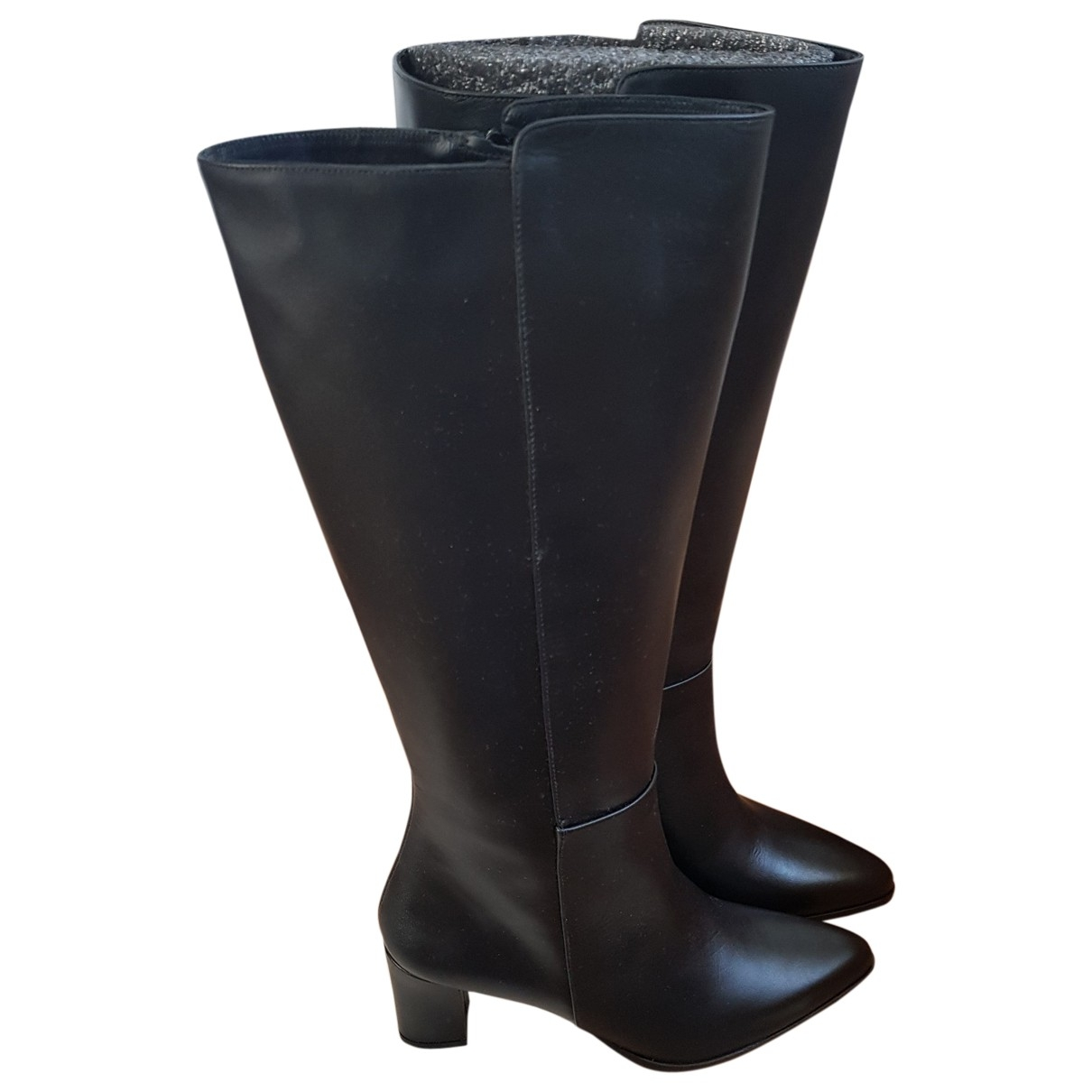 Flattered \N Black Leather Boots for Women 38 EU