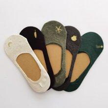 5 pares calcetines con bordado de luna y estrella