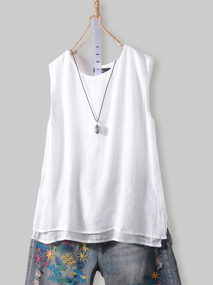 Vintage Solid Sleeveless Double Layer Tank Top
