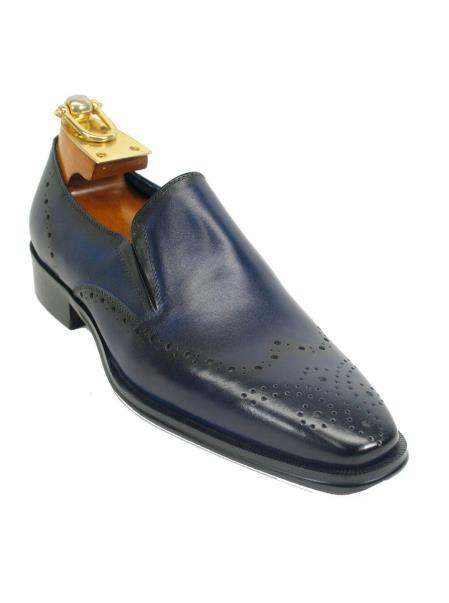 Mens Fashionable Perf Slip On Style Navy Shoes