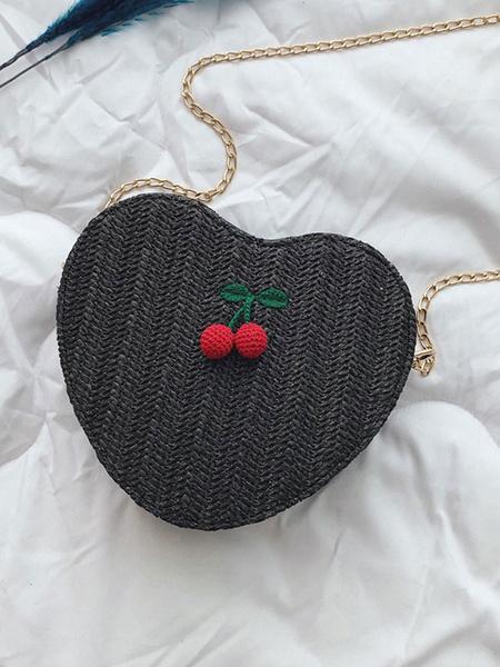 Milanoo Sweet Lolita Bag Hearts Shaped Cherry Decor Cross Body Bag