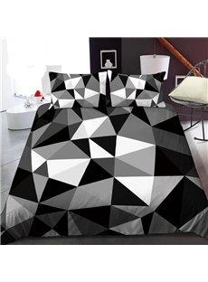 Black And White Geometric Pattern 3D Printed Polyester 1-Piece Warm Quilt